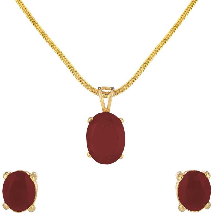 Red Solitaire Rhodium Plated Earring & Pendant Set for Women