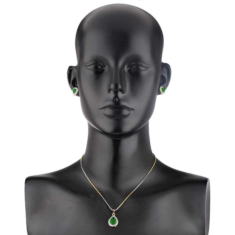Green Solitaire Rhodium Plated Earring & Pendant Set for Women