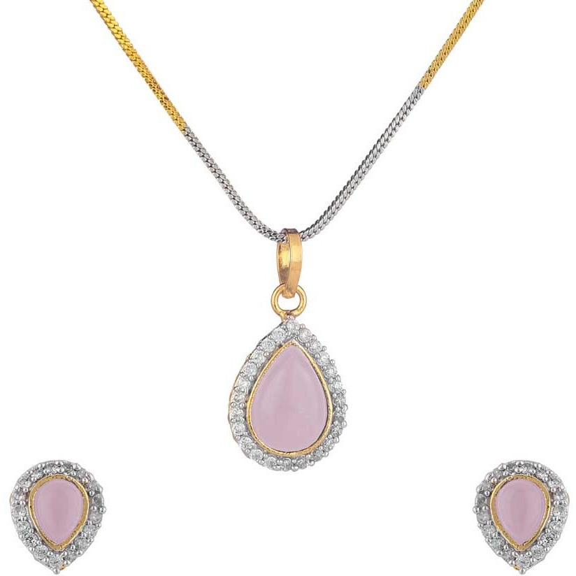 Pink Solitaire Rhodium Plated Earring & Pendant Set for Women