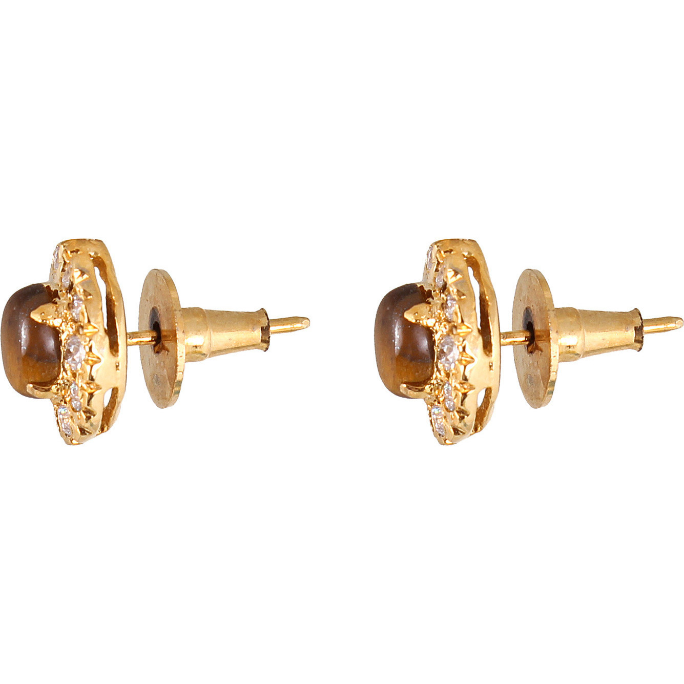 Attention-Seeking Gold Colour Tigereye Studded Rhodium Plated Earring, Pendant & Ring Set for Women