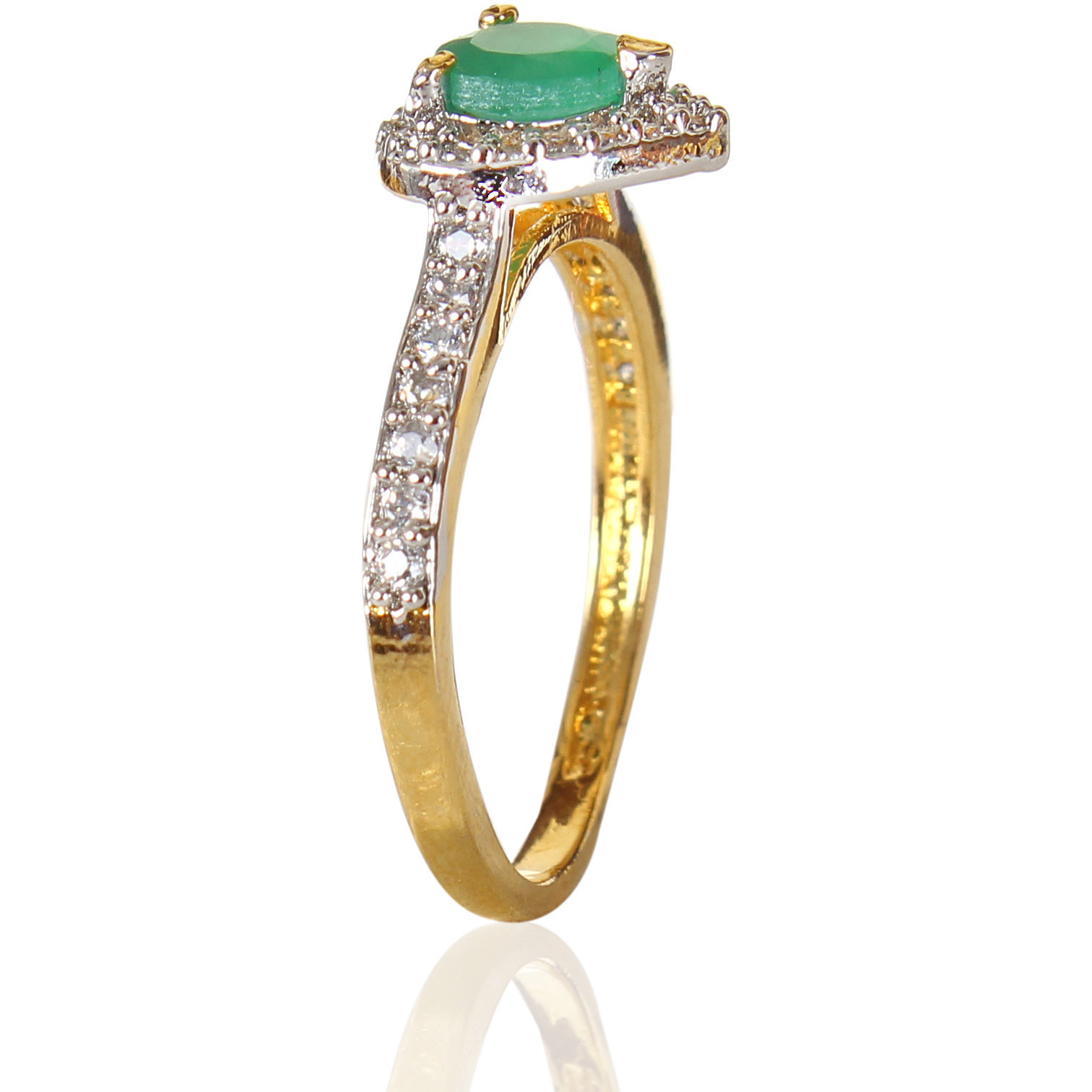 Charismatic Green Onyx Studded Rhodium Plated Ring for Women