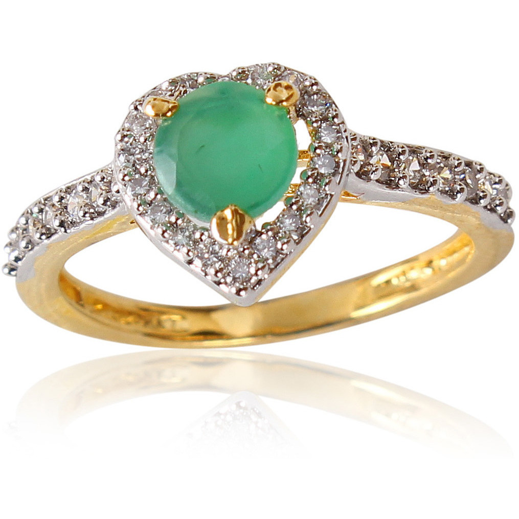 Elegant Green Onyx Studded Rhodium Plated Ring for Women
