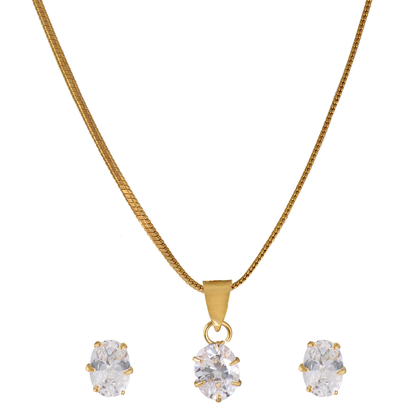 Magnificent White Diamond Look Oval Solitaire Rhodium Plated Earring & Pendant Set with Chain for Women