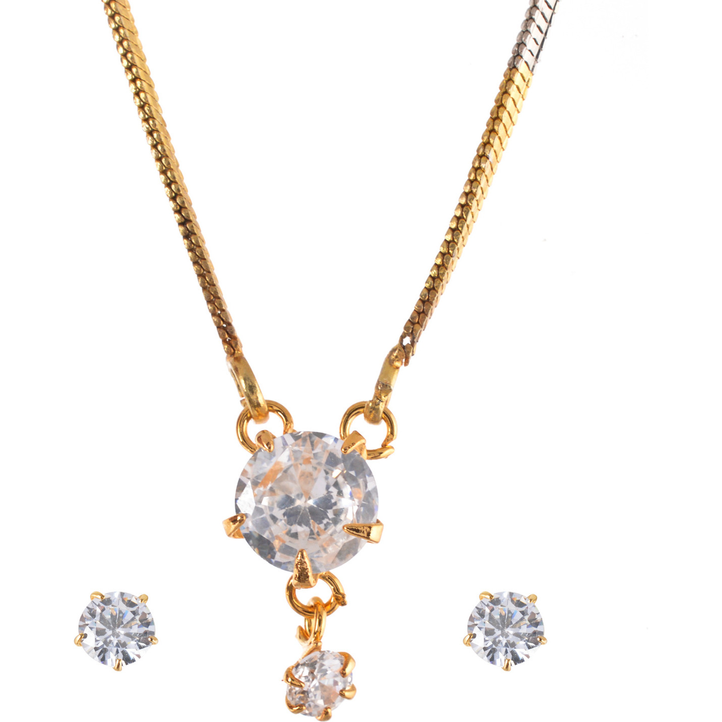 Stunning White Diamond Look Round Solitaire Rhodium Plated Earring & Pendant Set with Chain for Women