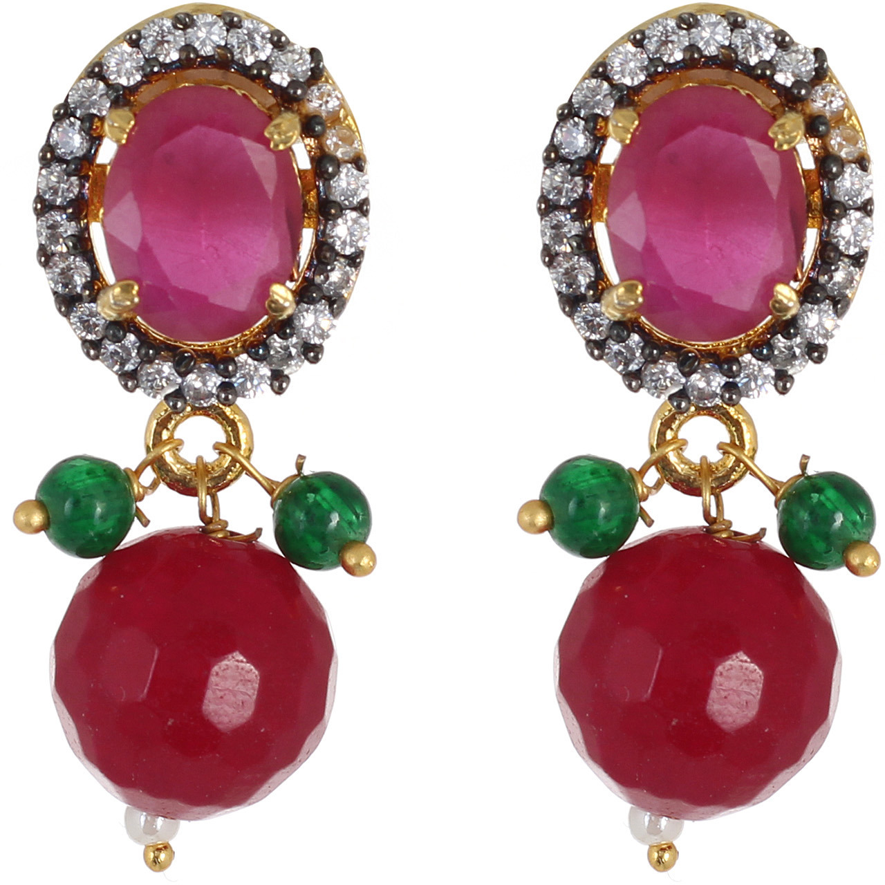 Be You Ealing Red Colour Diamond Look Rhodium Plated Br Drop Earring For Women