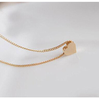 Be You Valentine Golden Heart Shape Rhodium Plated Brass Chain for Women