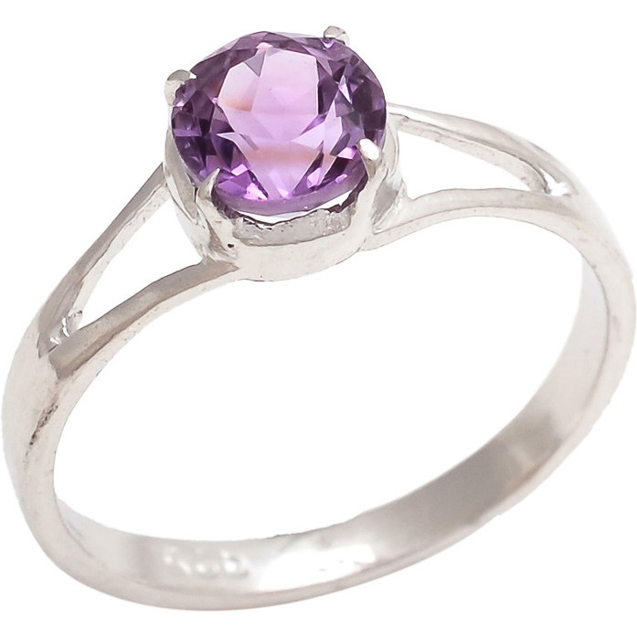 Be You Elegant Purple Amethyst Real Gemstones Rhodium Plated Sterling Silver Ring for Women