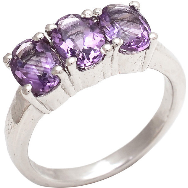 Be You Amazing Purple Amethyst Real Gemstones Rhodium Plated Sterling Silver Ring for Women