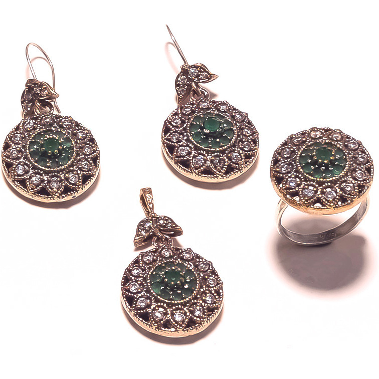 Be You Striking Green Onyx Rhodium Plated Brass & Silver Turkish Earring, Ring & Pendant Set for Women
