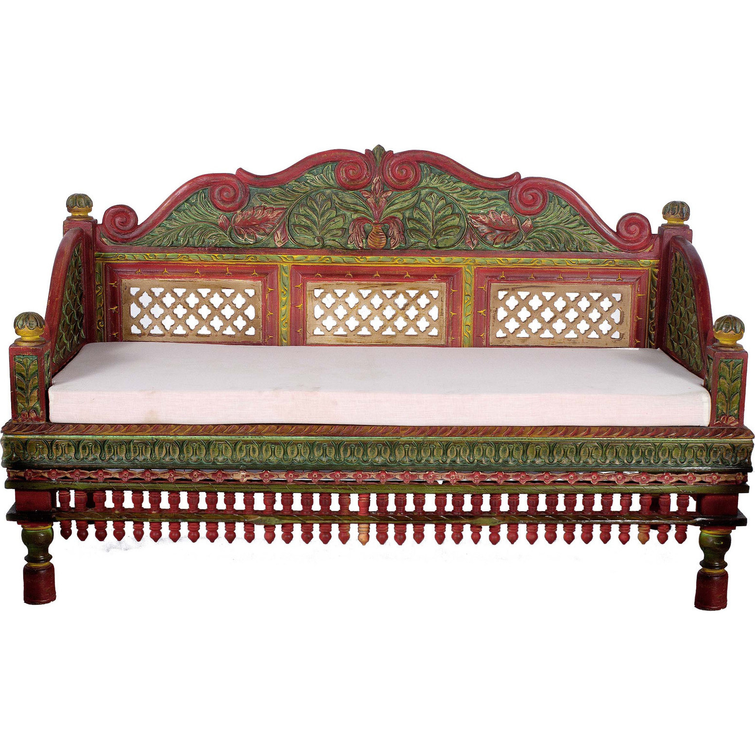 TEAK WOOD HAND PAINTED CARVED BACK TEAK WOOD SOFA SET   3 PCS