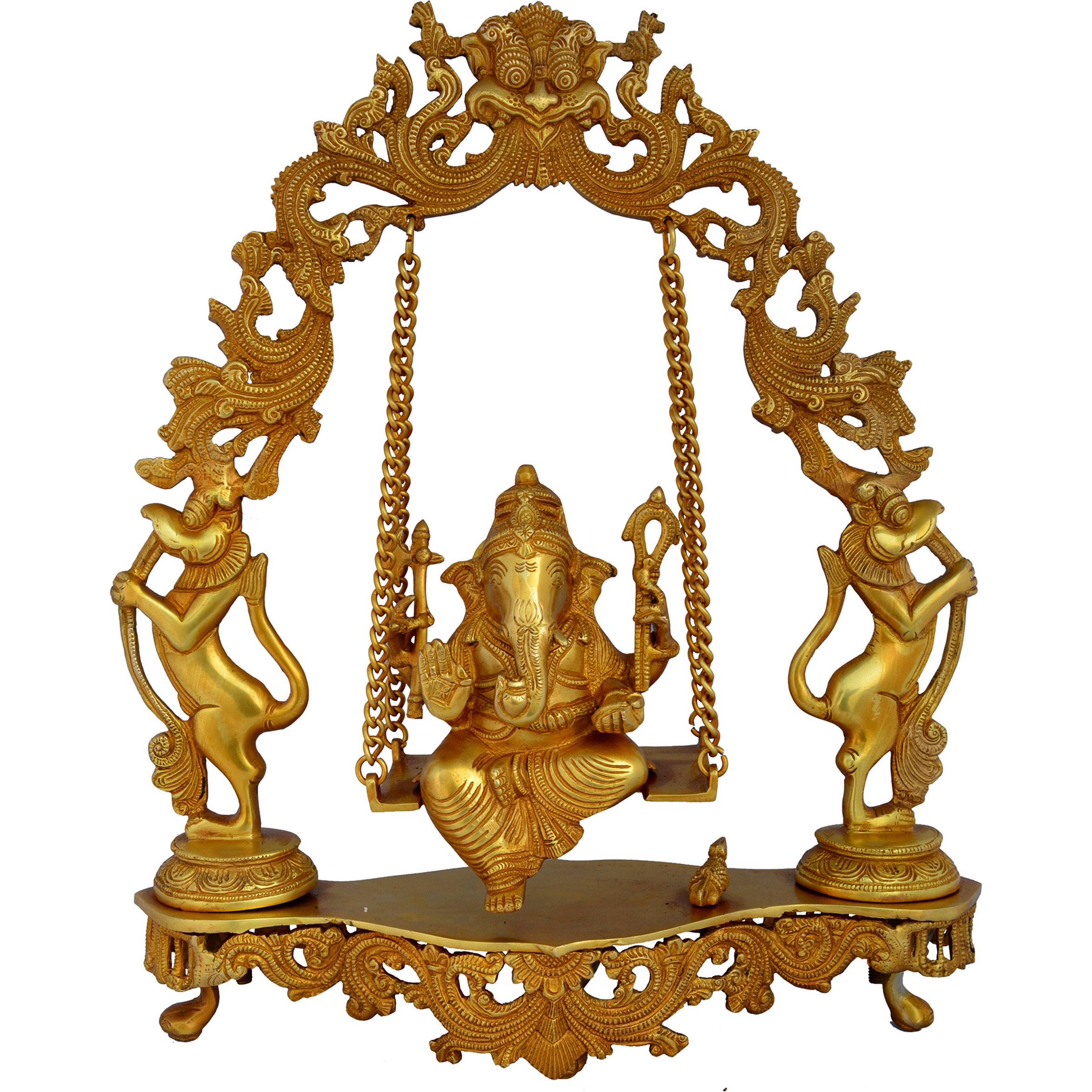Aakrati Ganesh Sitting On Carved Swing Having Yali Face Brass Statue Yellow