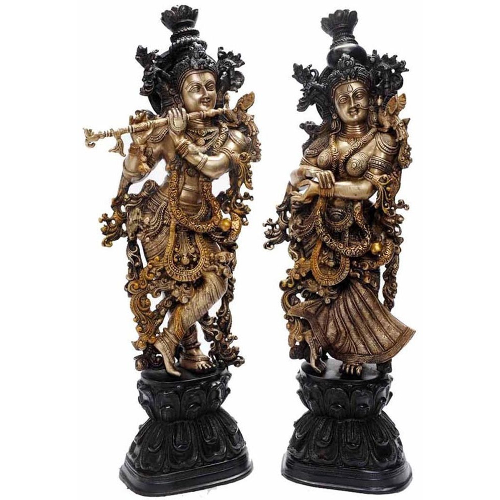 Aakrati Metal Brass Handmade Handicrafts Lord Radha Krishna Statue for Your Home Decoration Antique