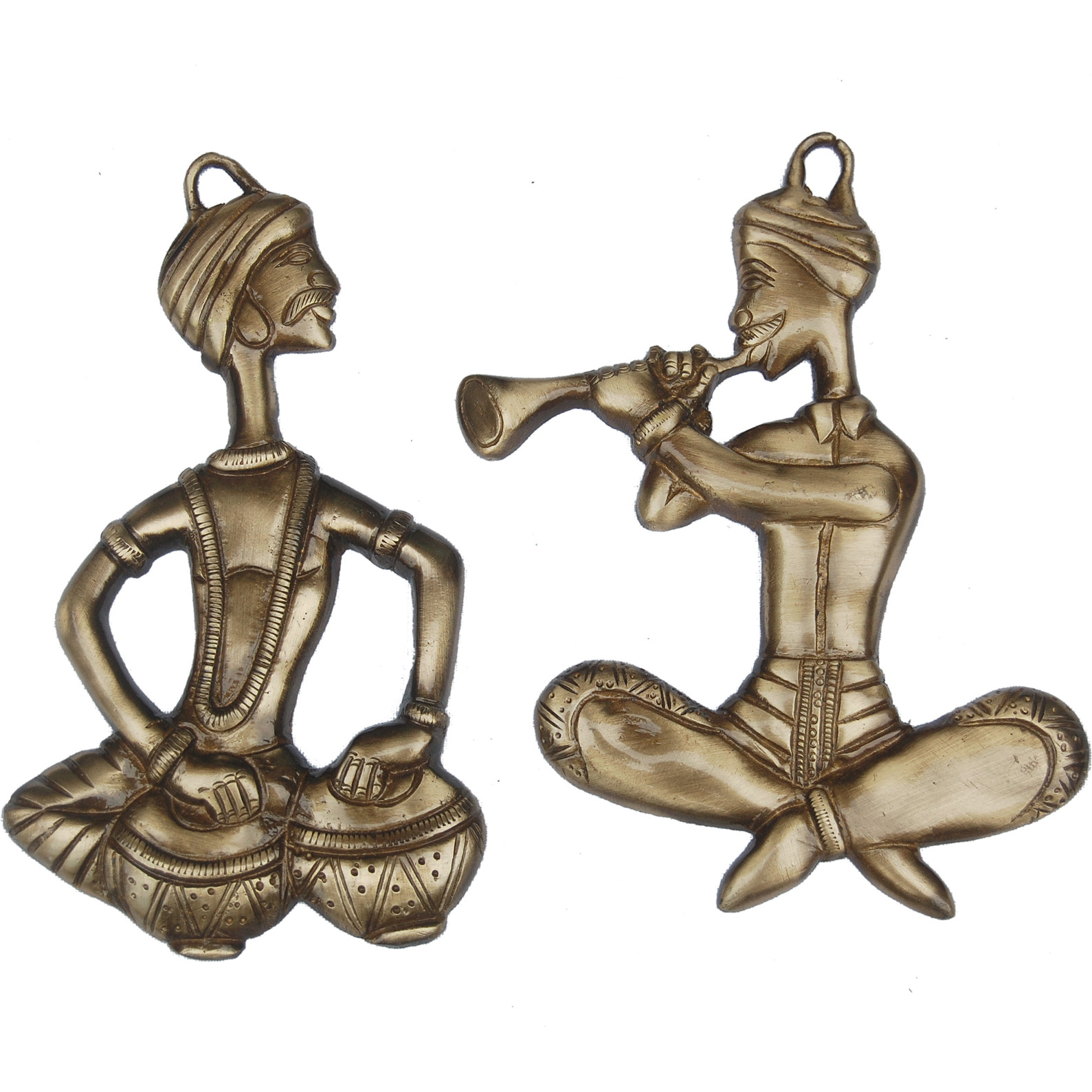 Aakrati Decorative Wall Hanging Brass Made Sitting Men Statue - Metal Indian Handmade Gift