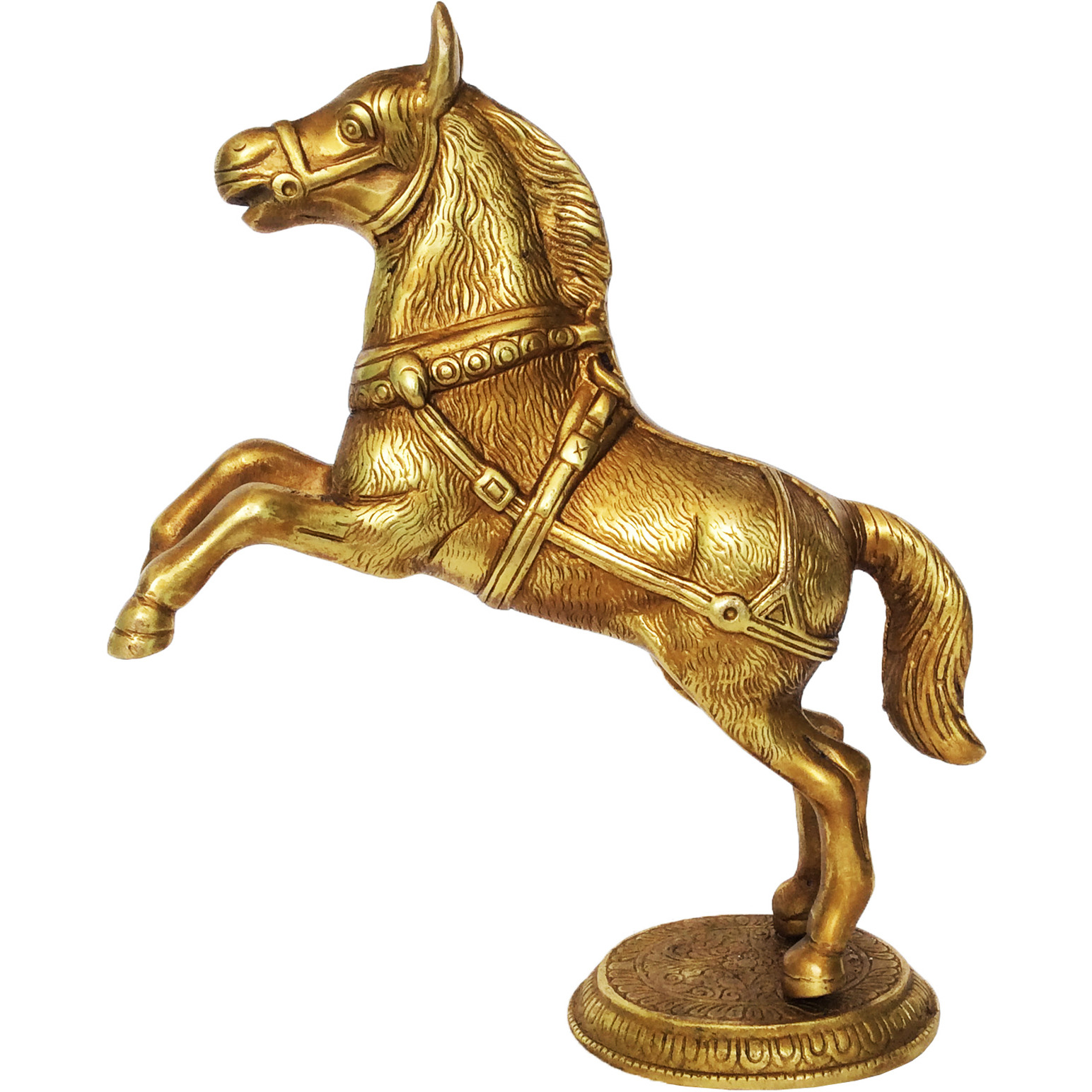 Aakrati Horse Statue Made in Brass Metal with Yellow Finish a Table showpiece - Decorative Animal Figure | Home Decor | Office Decor | Gift |