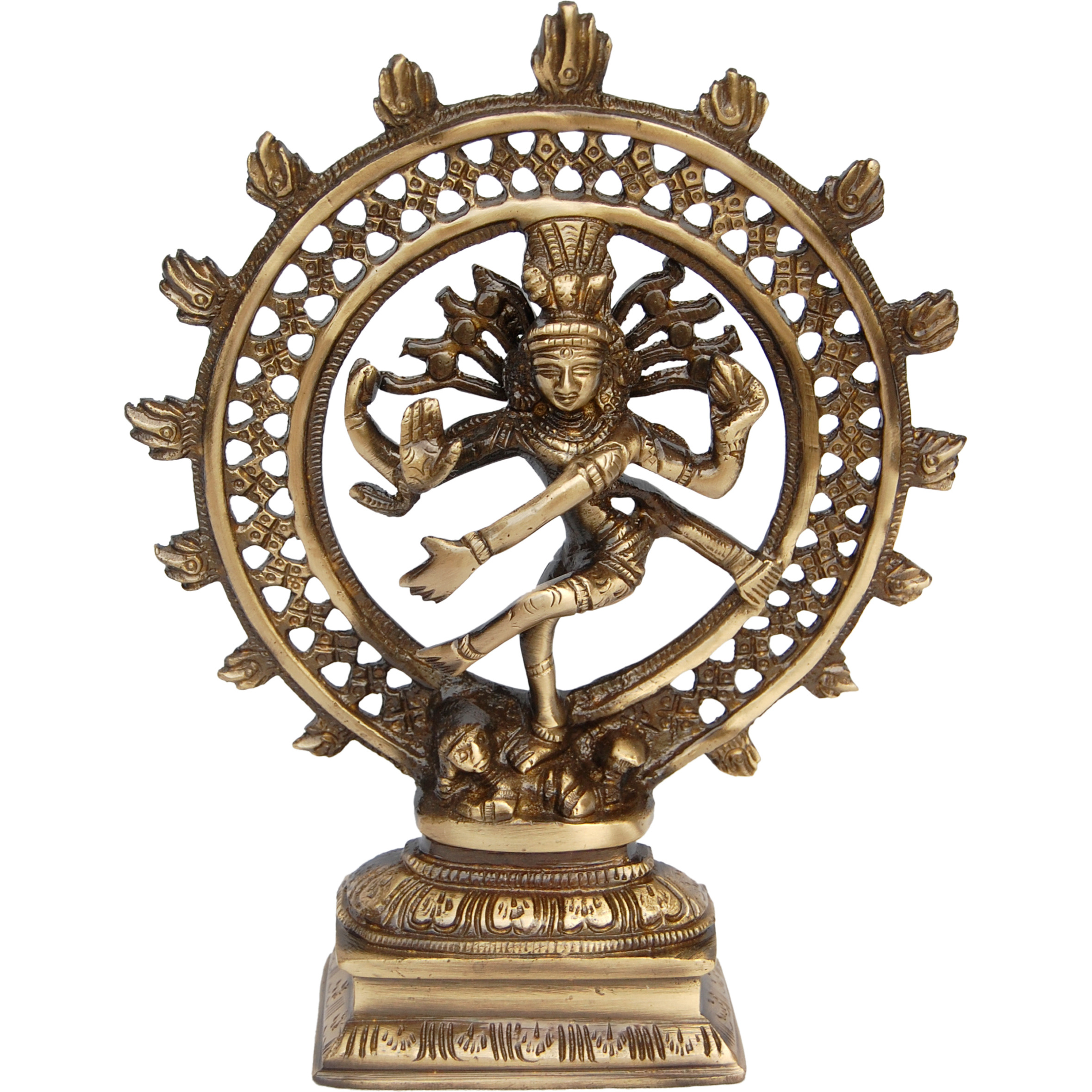 Aakrati Hindu God Shiva (Natraj) Statue of Brass Brown