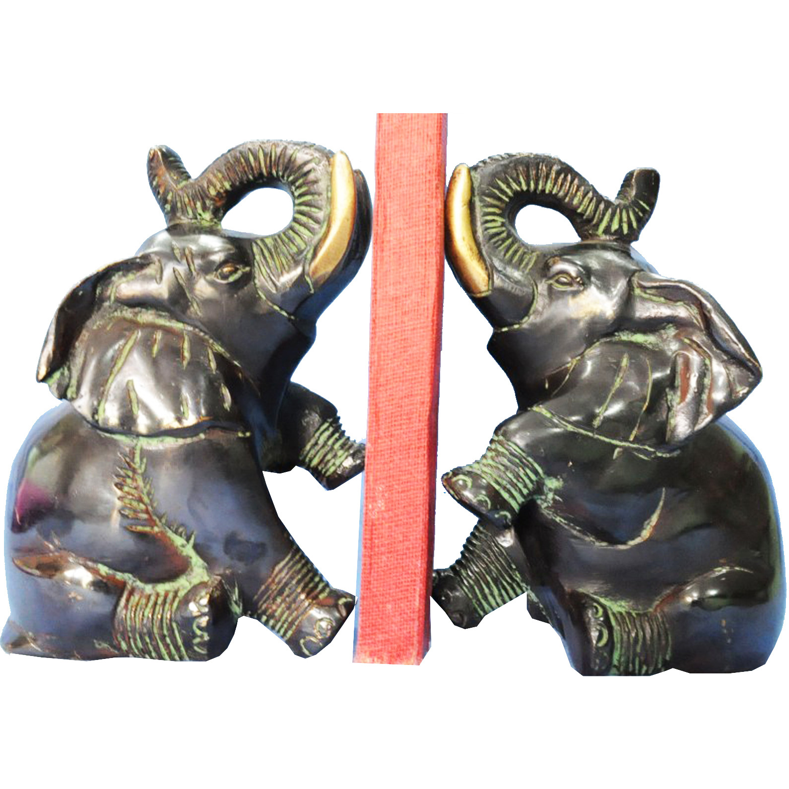 Book End 0f Elephant Brass Sculpture In Antique Finish