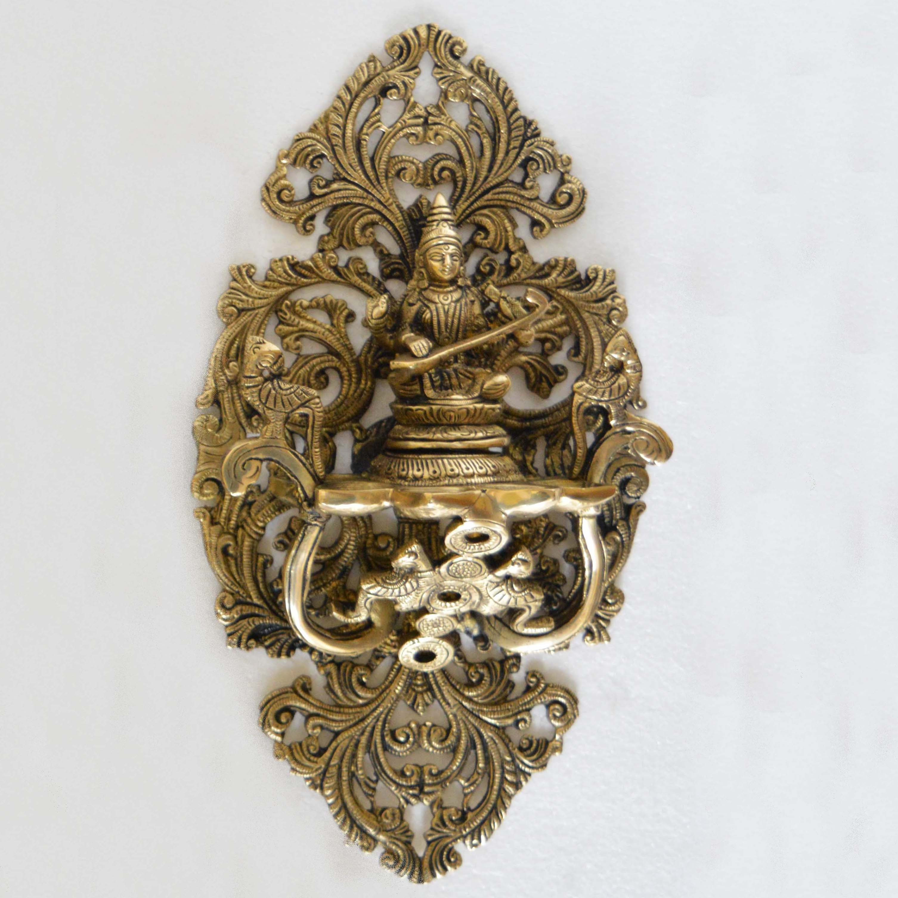 Goddess Saraswati Wall Plate Oil Deepak Or Diya with Unique Carving for Decor and Gifting Home decoration And wall d??cor