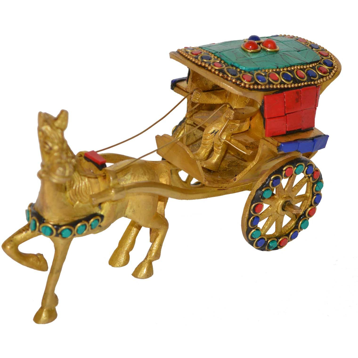 Aakrati Brass Horse Cart Handmade Antique Home Decoration Figurine Table Decoration Hotel Figurines Functional Replica with A Small Rider