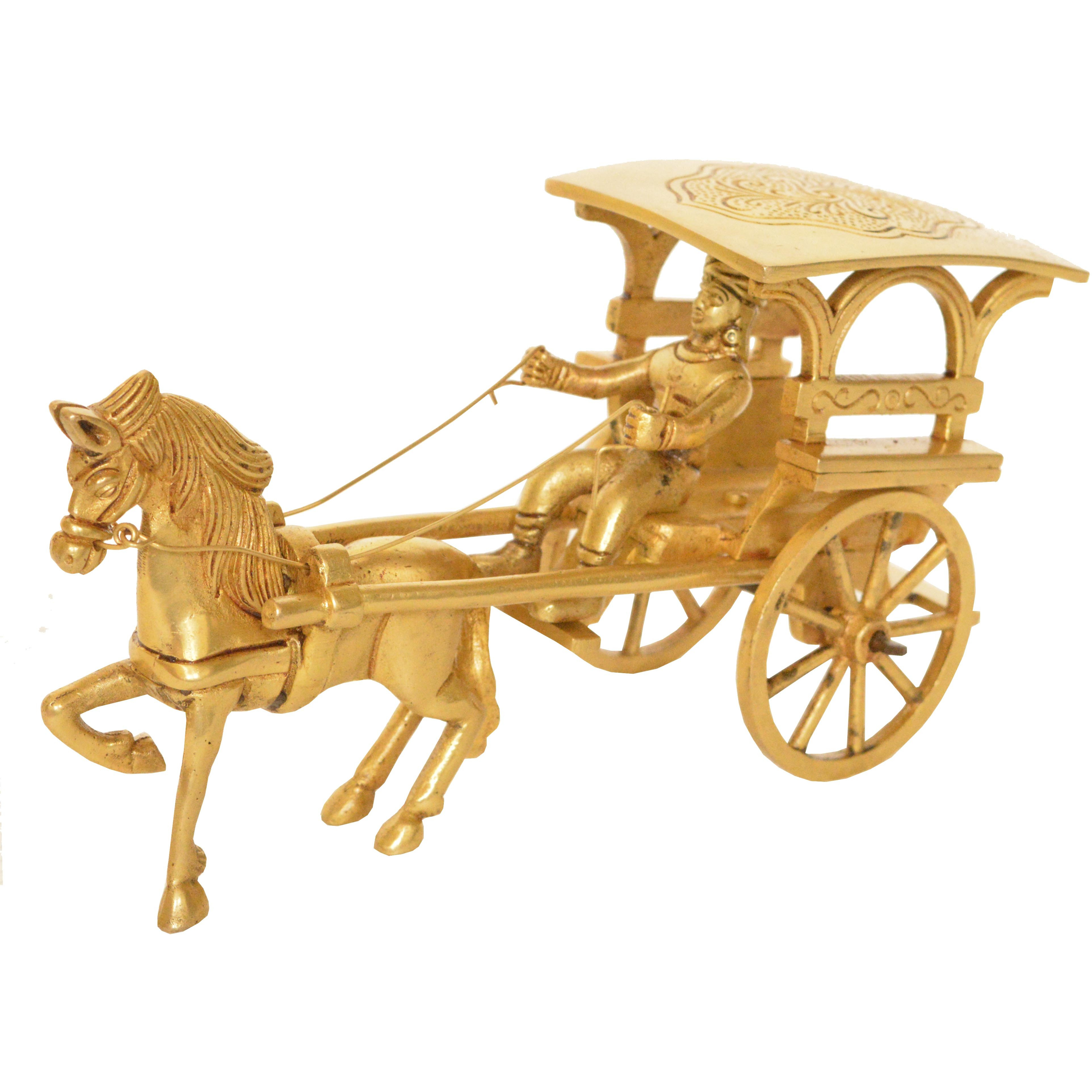 Vintage Brass Carriage Horse Cart - Desk Showpiece/Metal Decorative Gift with Wheel Pull Figurine Statue - Home Decor - Indian Metal Craft - Antique Collection