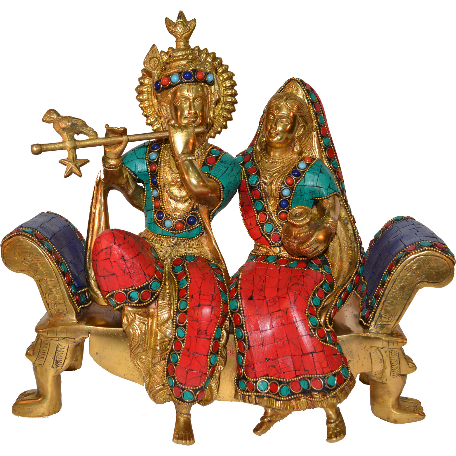 Radha Krishna Sitting On a Sofa Set with Turquoise Work