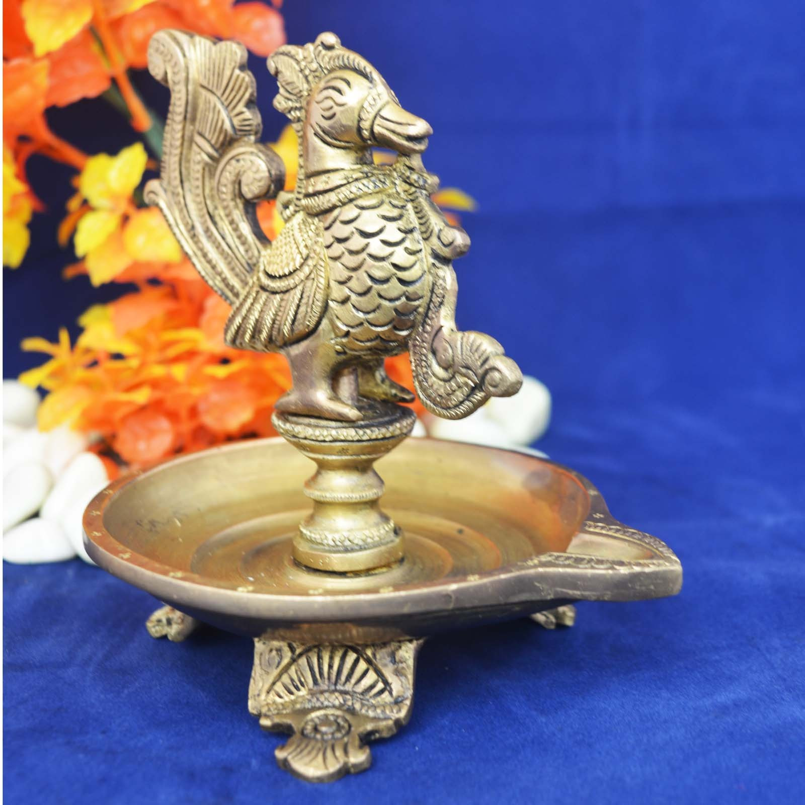 Aakrati Beautiful Bird Oil Lamp made of Brass with perfect finish and carvings for Home D??cor