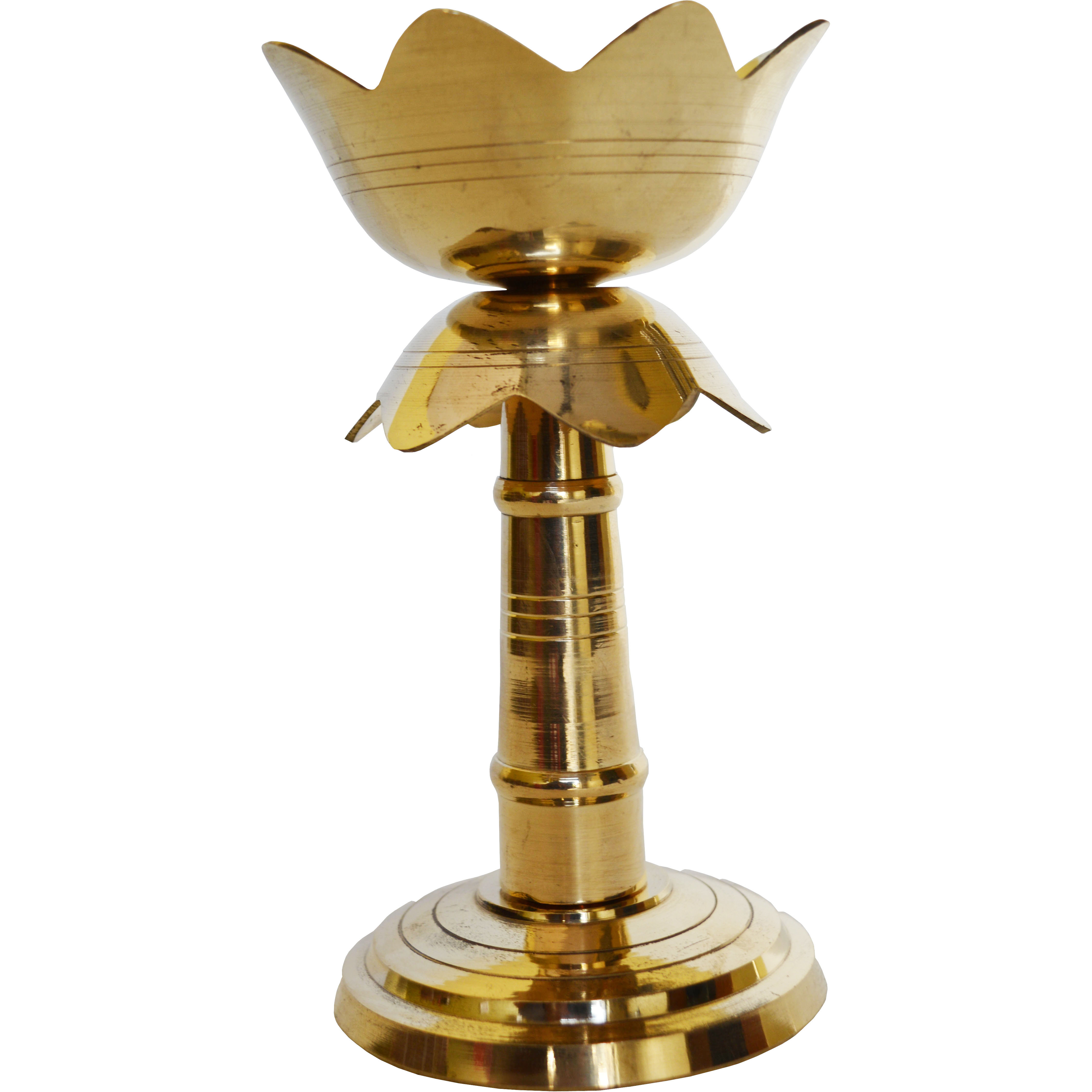 Aakrati Brass Diya, Deepak in Yellow Antique Finish Temple Worship Pooja Item Home Decor Table showpiece Gift - Temple Worship Metal Religious Gift