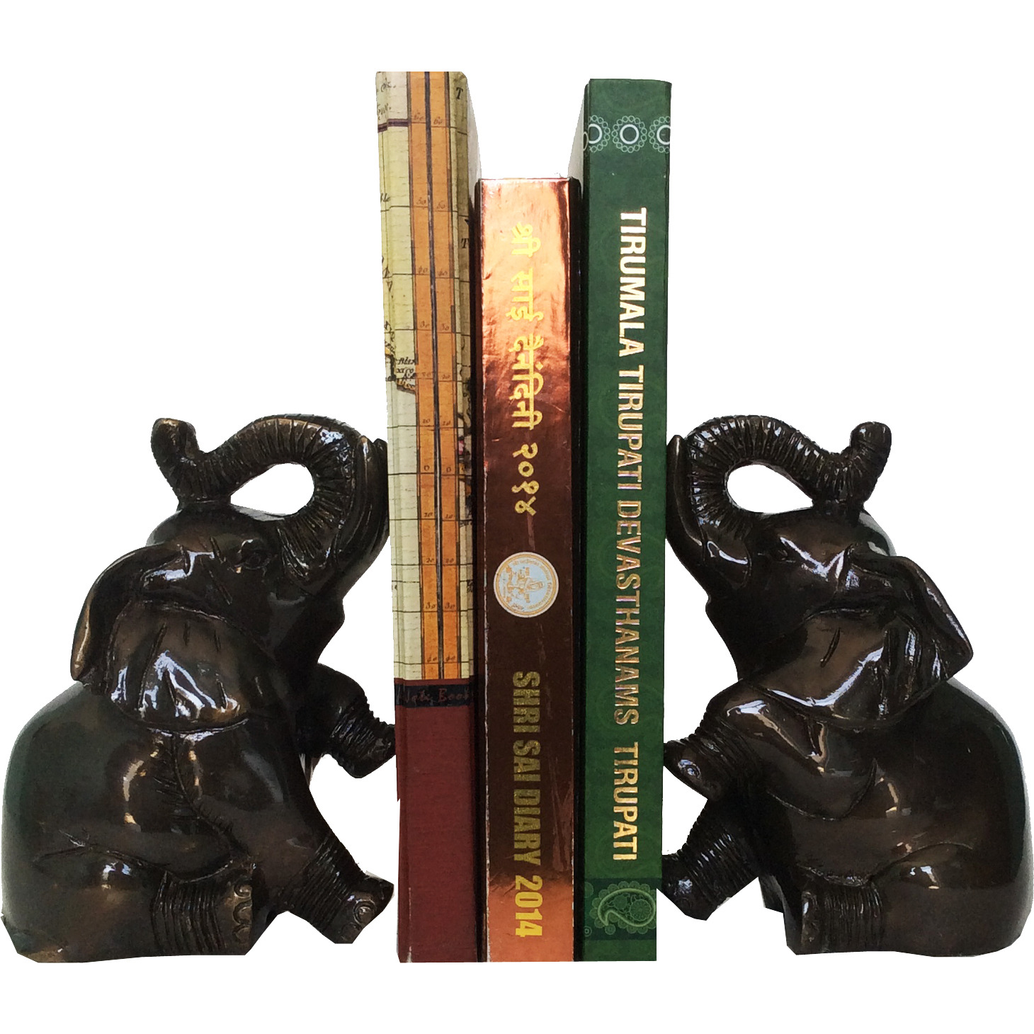 Aakrati Book End of Elephant Figure Brass Made Statue Black