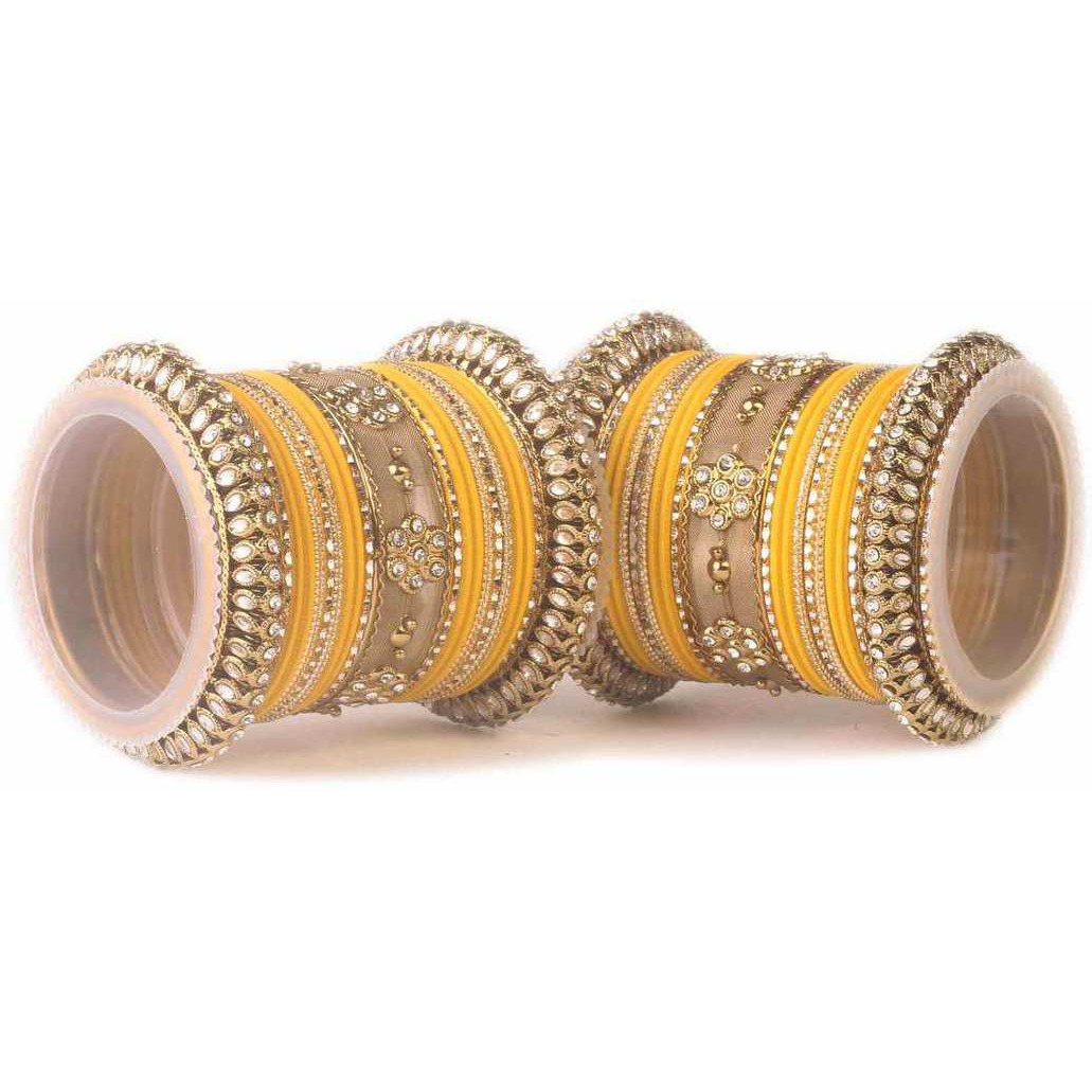 Traditional Yellow Kundan Bangle set for two hands in Matte finish