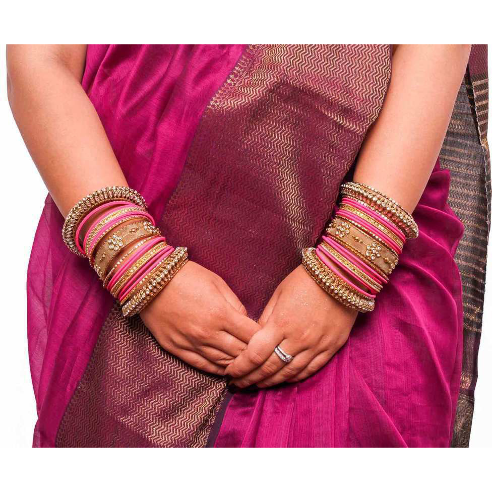 Traditional Rani Kundan Bangle set for two hands in Matte finish