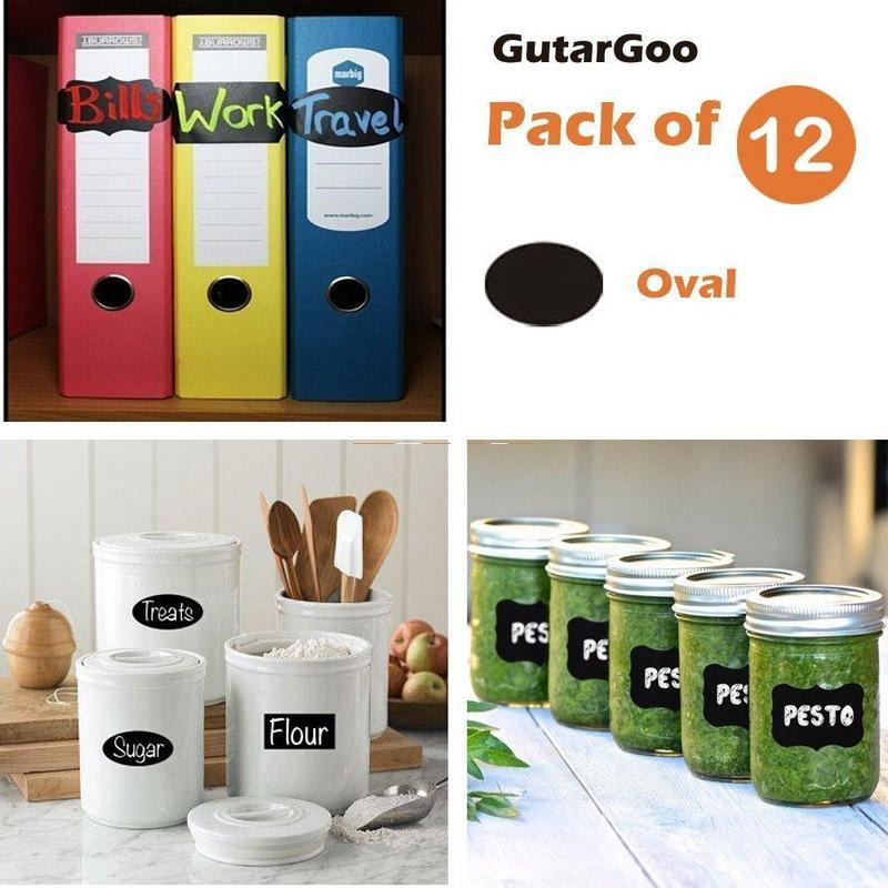 GutarGoo Vinyl Chalkboard Stickers Labels Pack of 12 Stickers-Oval + Free Compatible Chalk