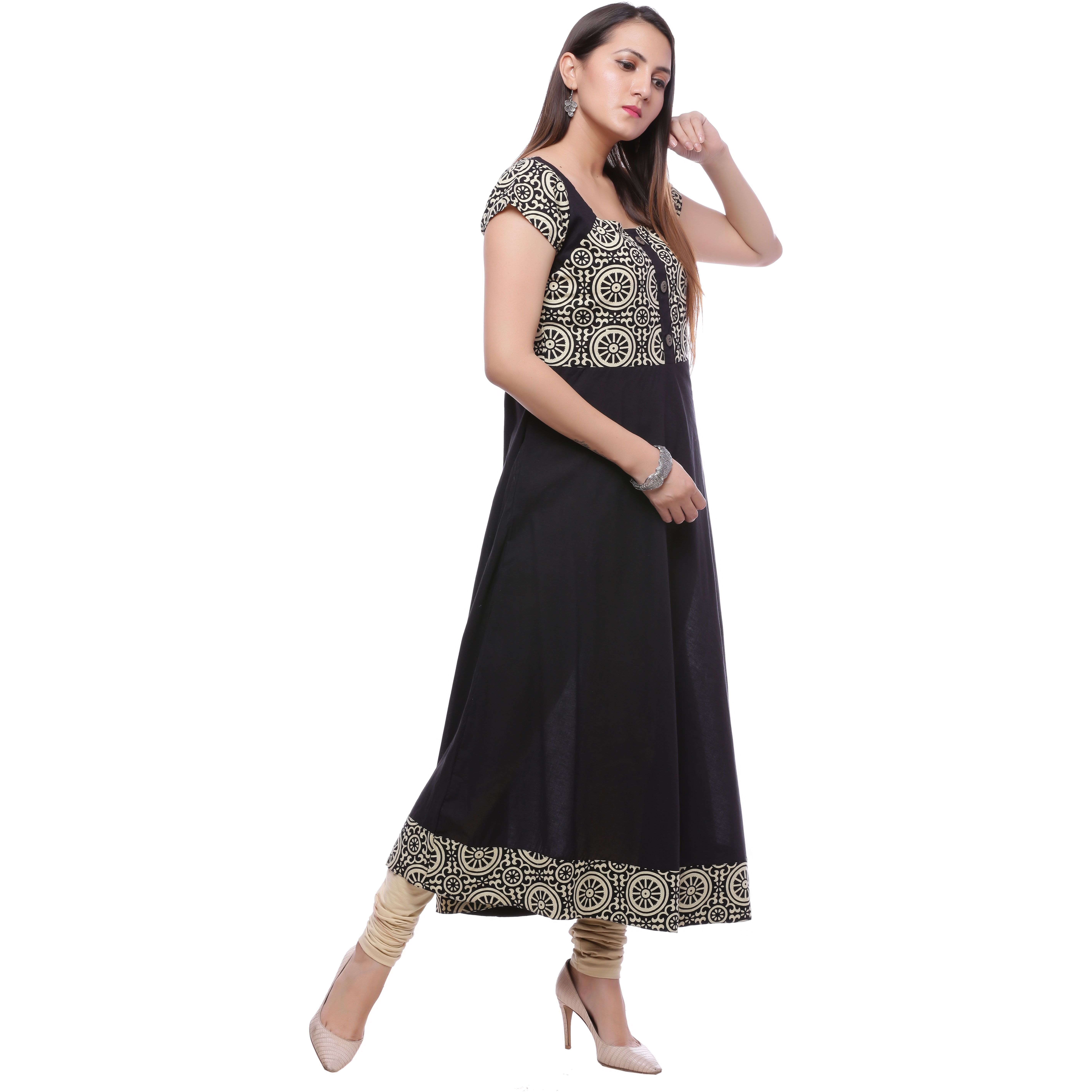 Ayan Black::Beige Short Festive & Party Wear Anarkali Kurta for Girls