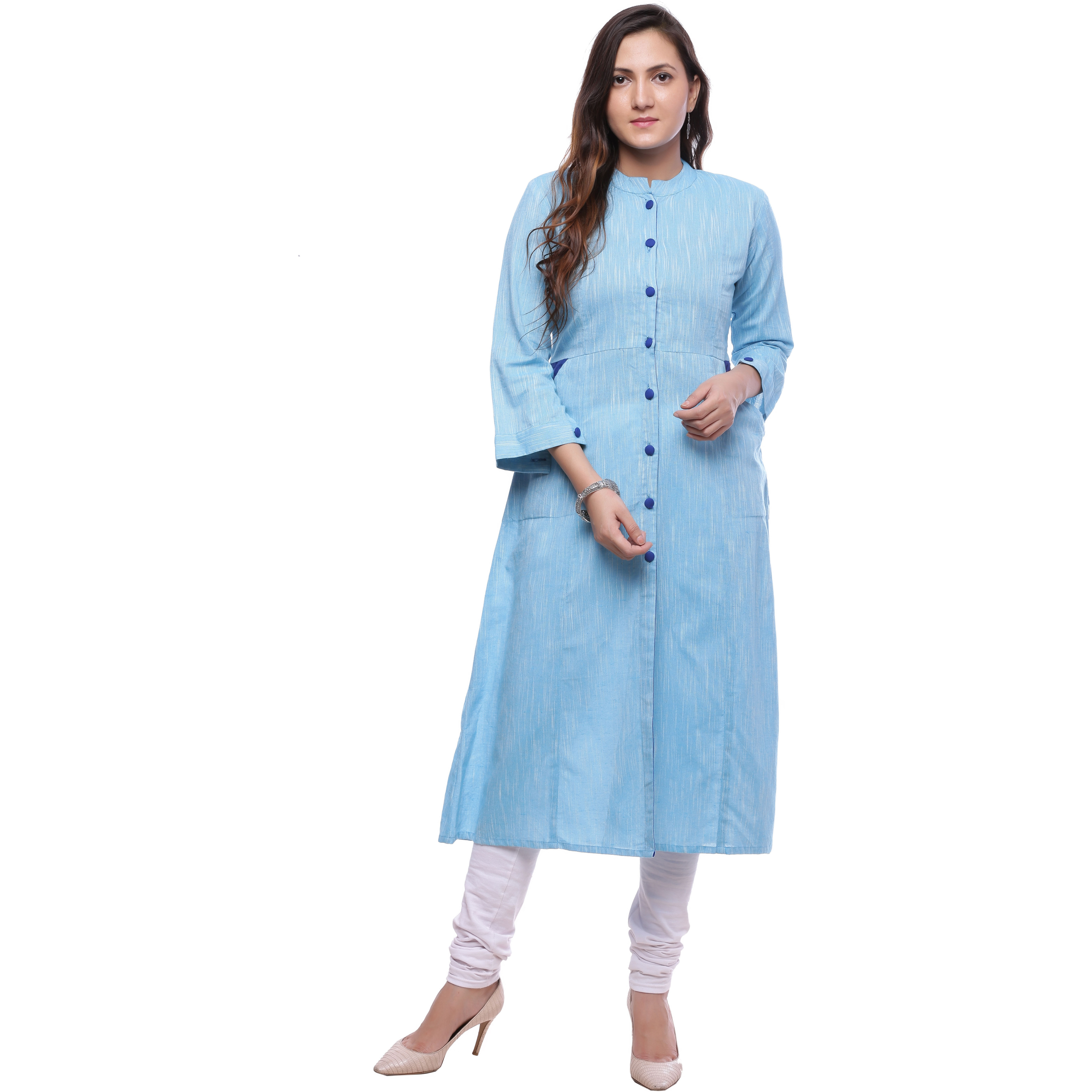 Ayan Skyblue::Blue Three Quarter Casual Wear A-Line Kurta for Girls (Size:S)