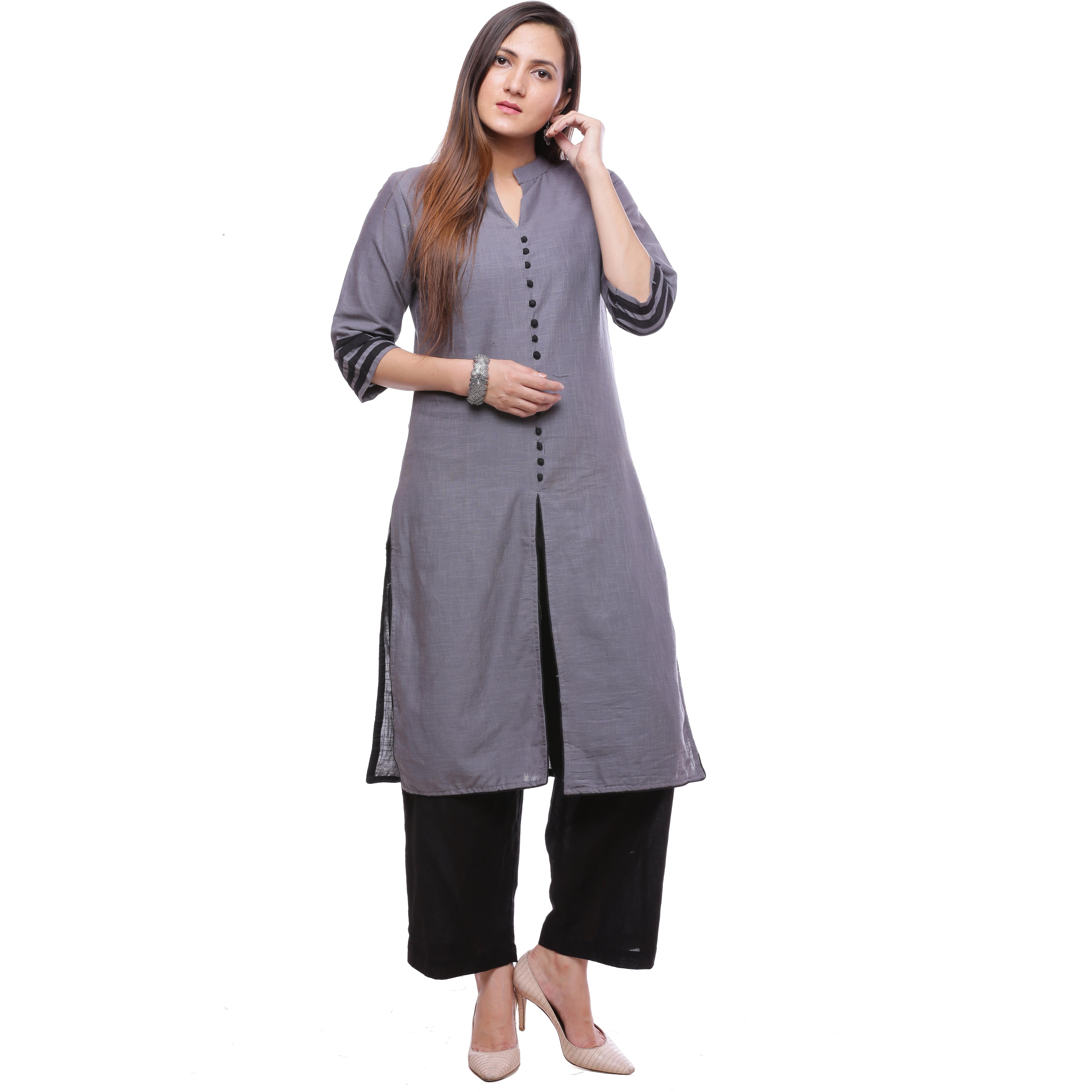 bd3ceb95e1bd Buy Online Ayan Grey::Black Three Quarter Casual Wear Straight Kurta ...