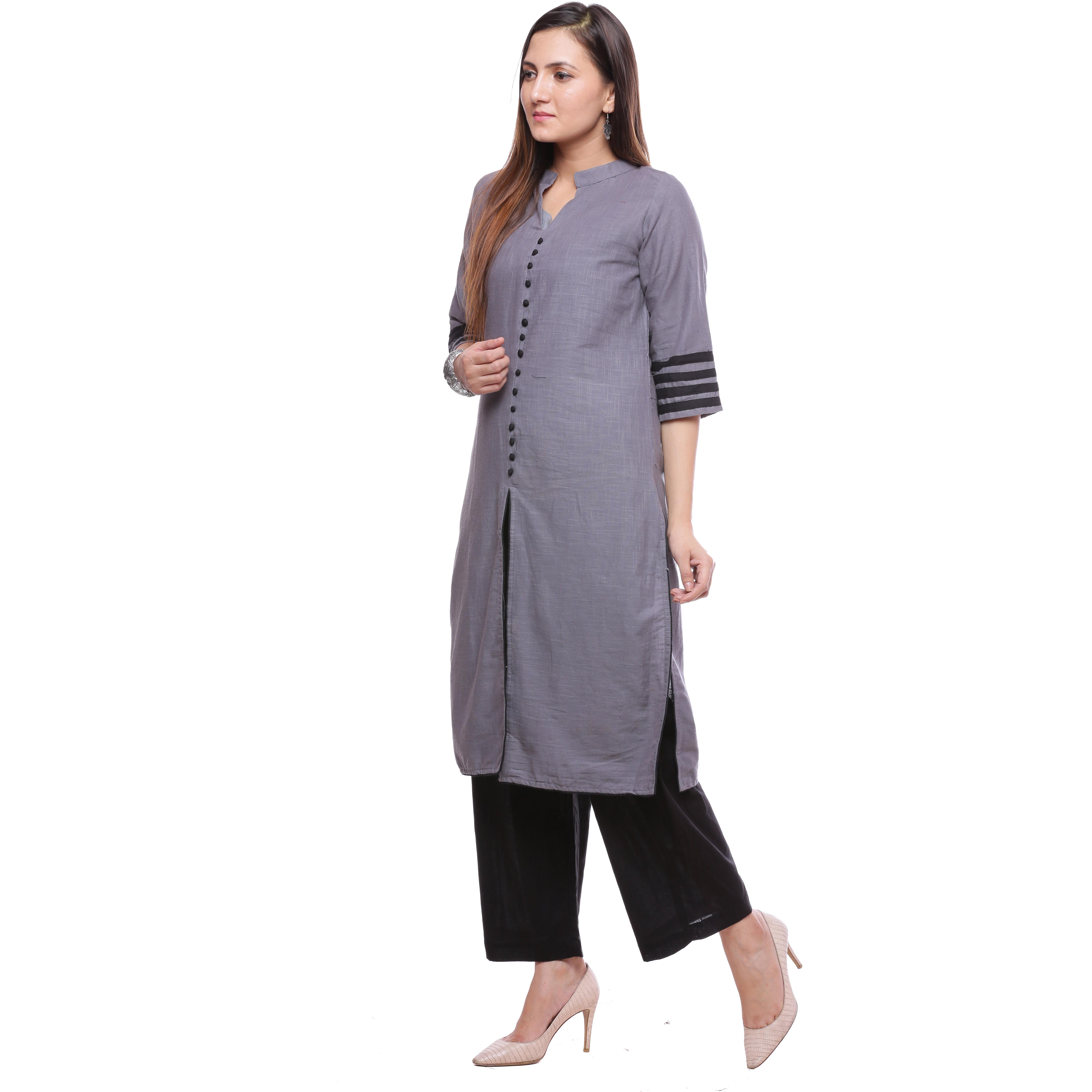 031a2b13b0b0 Ayan Grey::Black Three Quarter Casual Wear Straight Kurta for Girls (Size: