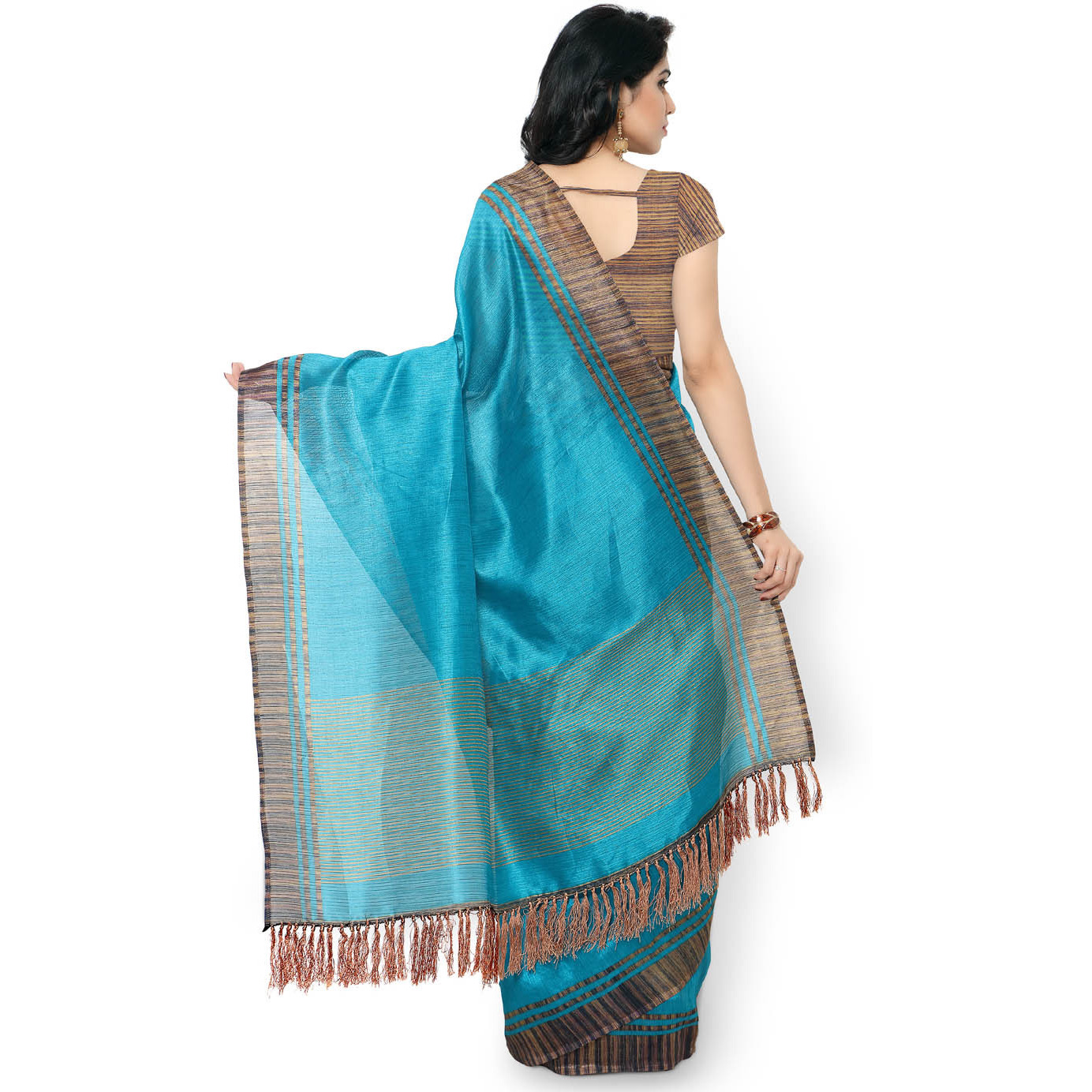 Rajnandini Teal Blue Tussar Silk Plain Traditional Saree