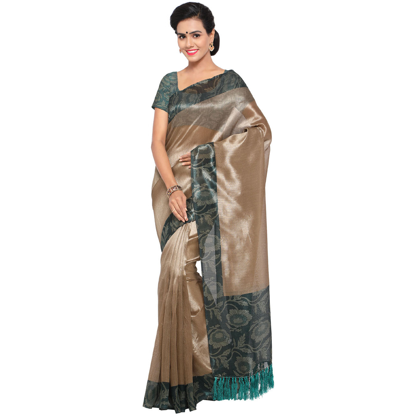 Rajnandini Beige And Teal Green Tussar Silk Plain Traditional Saree