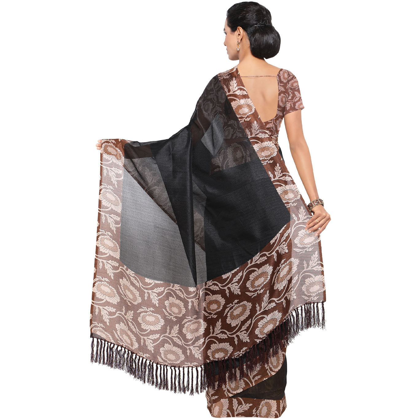 Rajnandini Black And Brown Tussar Silk Plain Traditional Saree