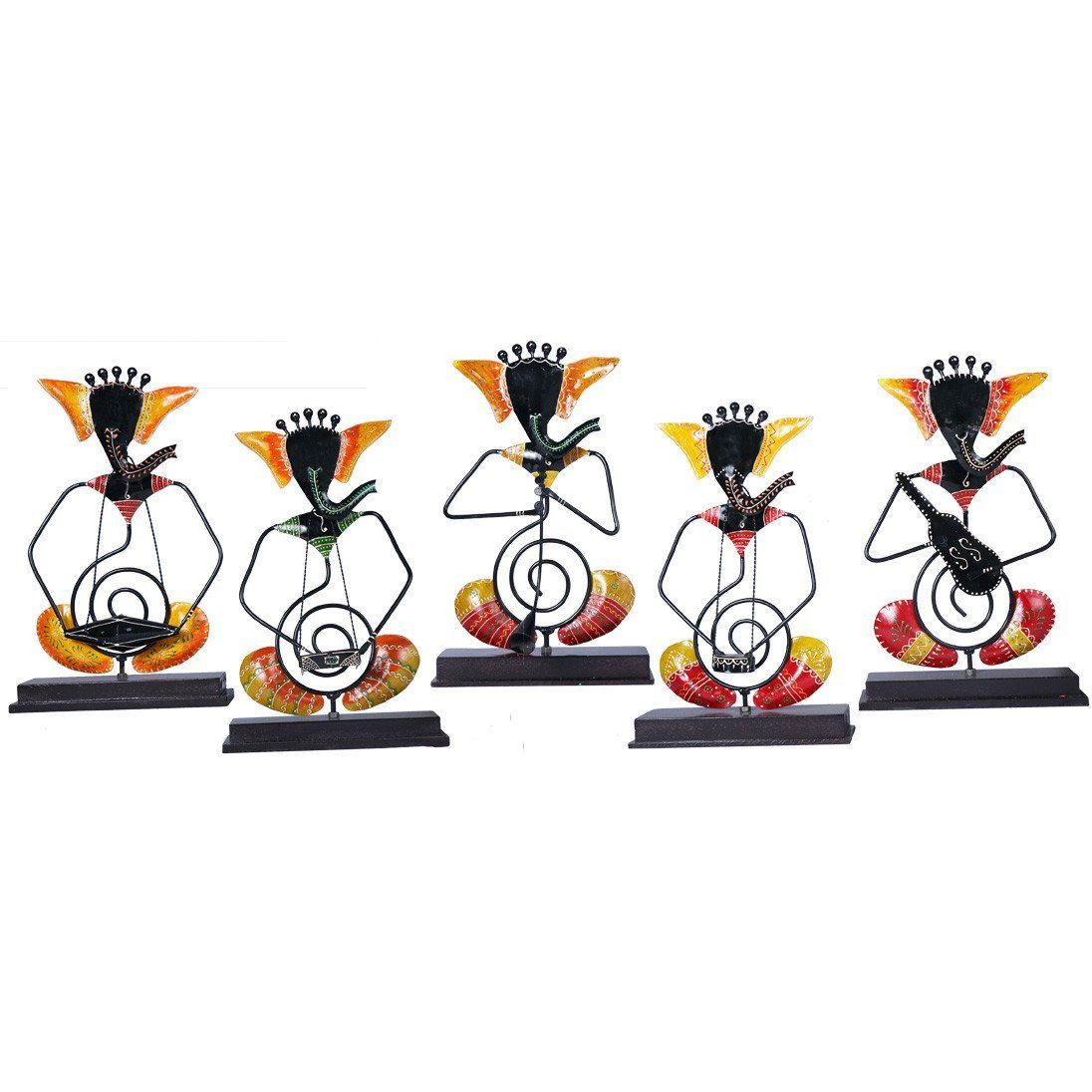 CraftedIndia Antique Ganesha Musician Showpiece Set of 5