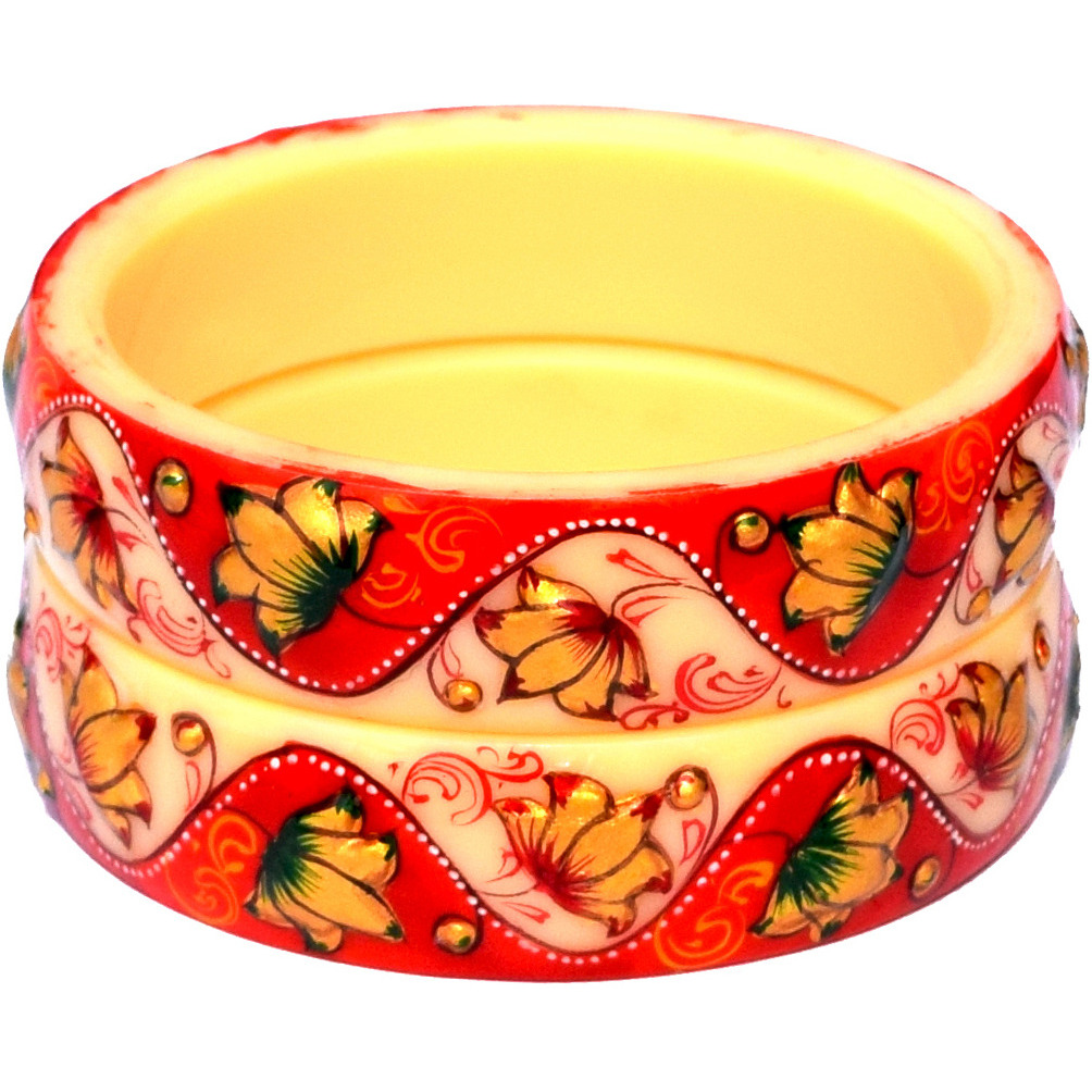 Antique Traditional Cream Red Golden Emboss Synthetic Ivory Handmade Handpainted Bangles Kadas for Women Set of 2 (Size 2-8)