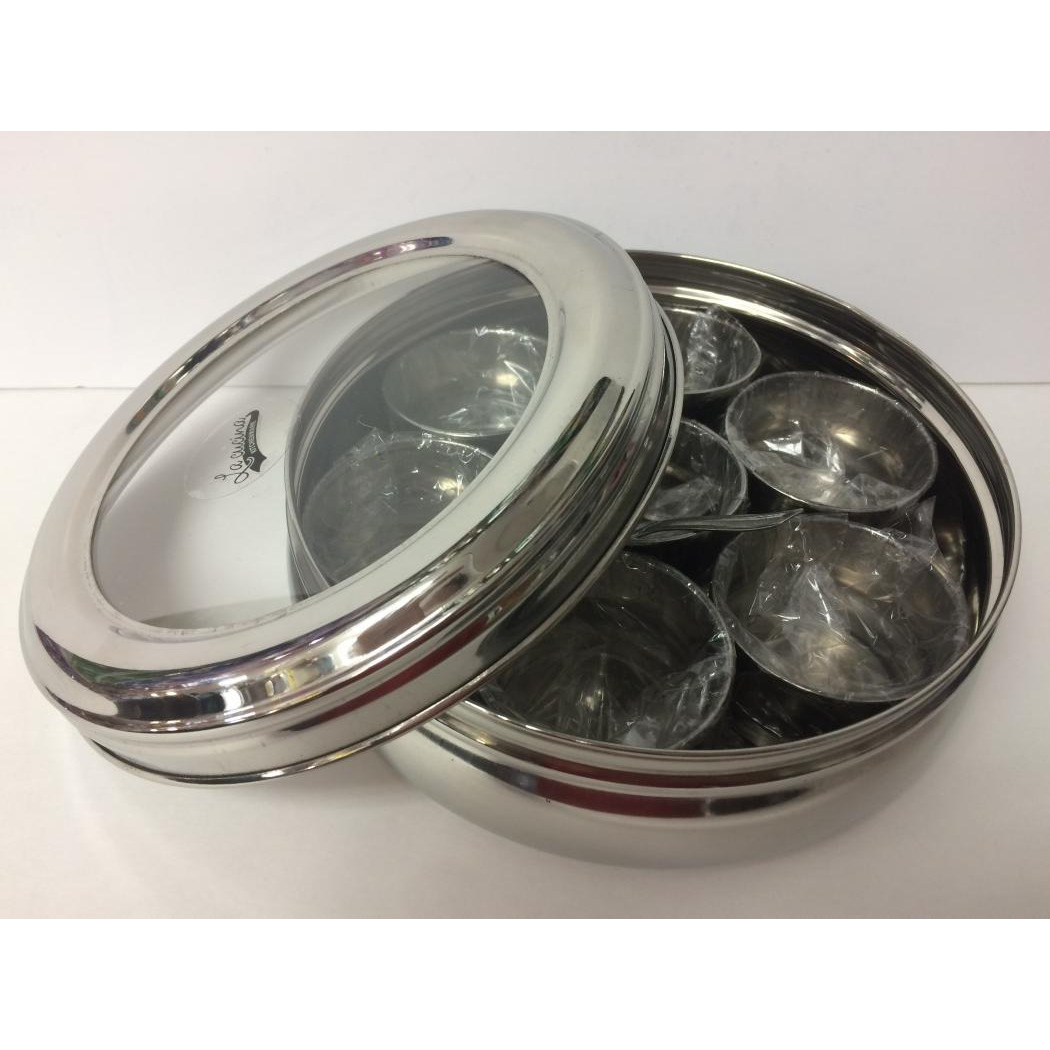 See Thru Indian Spice Box, Stainless Steel Masala Dabba