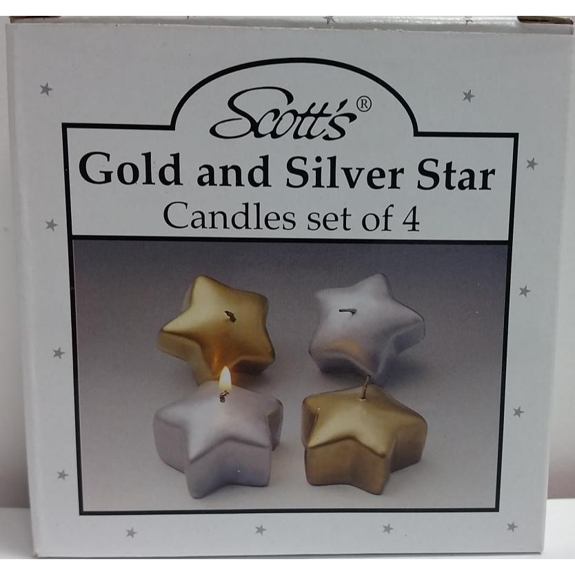 Gold & Silver Star Shaped Tea Light Candle (4 Pack)
