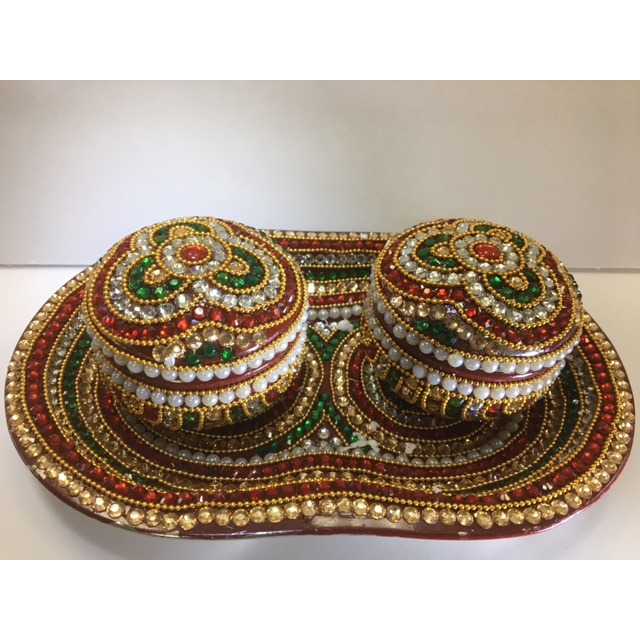 Stone & Bead Decorated Mukhwas / Candy Box (3 Pcs)