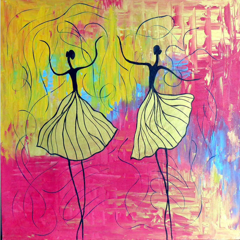 Abstract Painting 36 X Inch Ballerina Dance Of Joy Handpainting By Rahat Arts