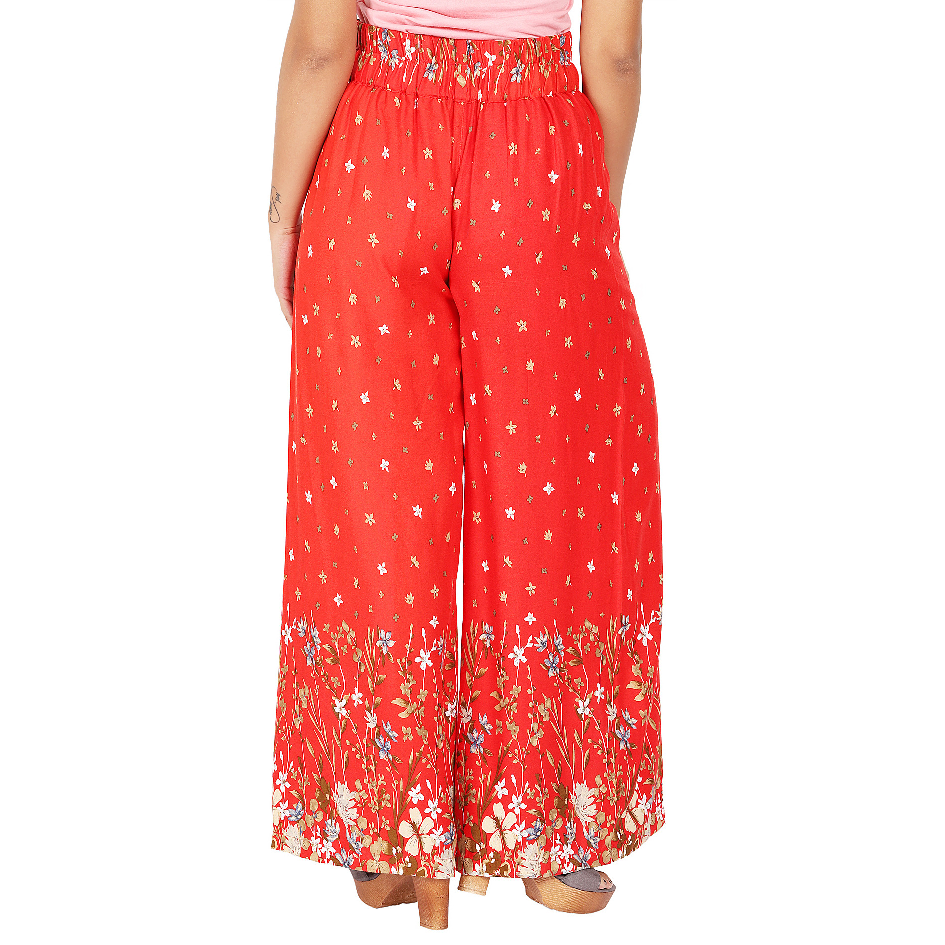 Craft Darbar Women's Designer Flared Rayon Viscose Flower Print Palazzo / Wide Capri Pants / Trousers (Red)_X-Small (Size: X-Small)
