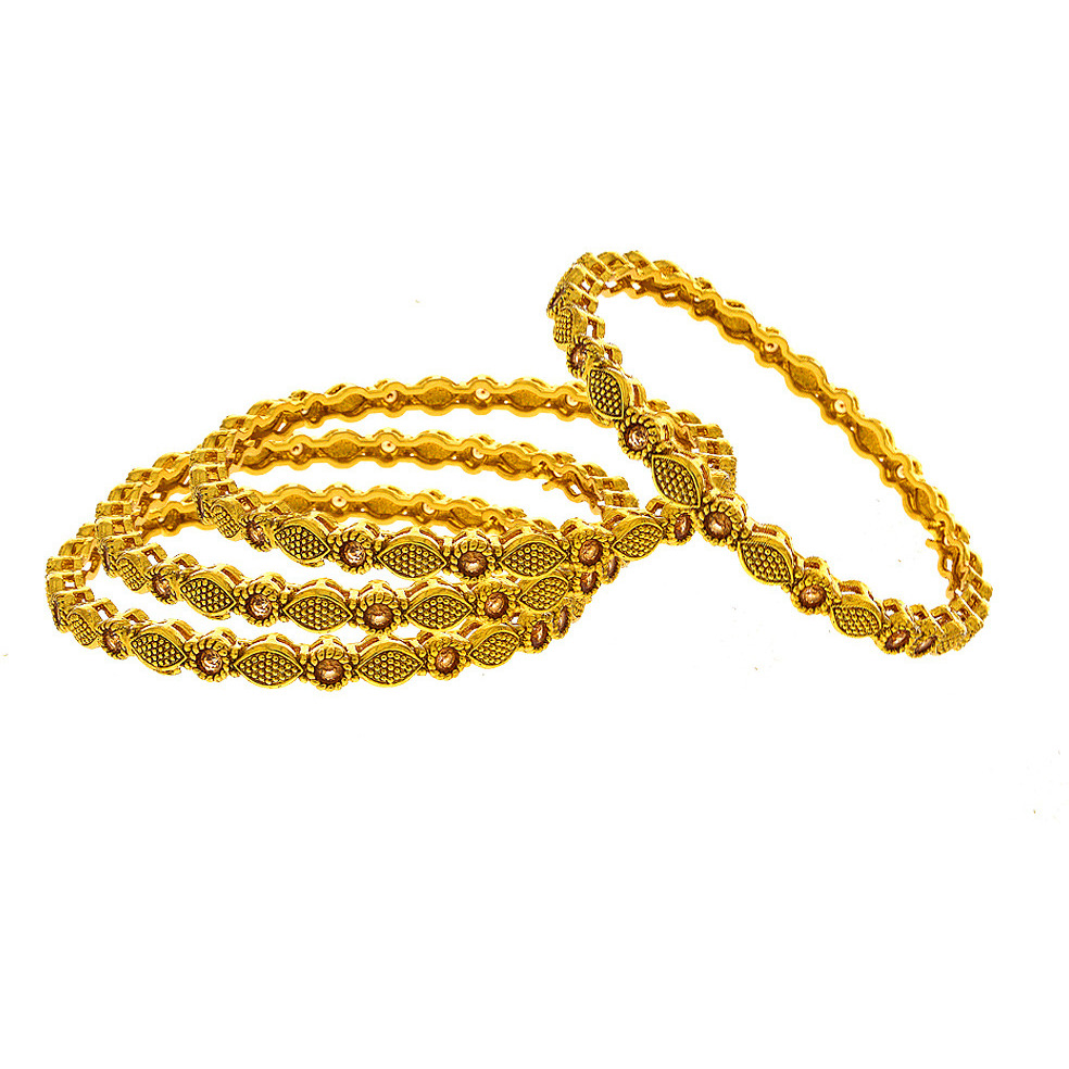 Anuradha Art Golden Finish Peach Colour Simple Classy Pretty Designer Traditional Bangles Set For Women/Girls