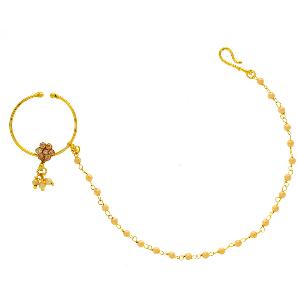 Anuradha Art Golden Finish Wonderful Very Classy Traditional Dulhan Nose Ring Nose Pin For Women/Girls