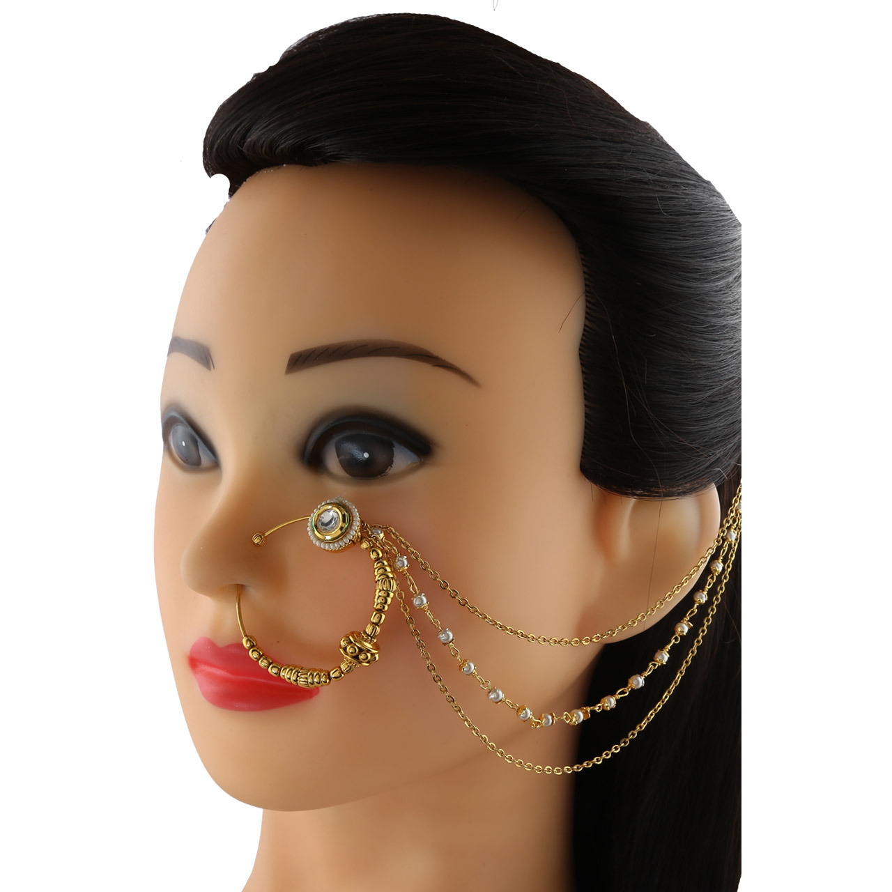 Anuradha Art Golden Finish Styled With Kundan Designer Very Trendy Traditional Dulhan Nose Ring Nose Pin For Women/Girls