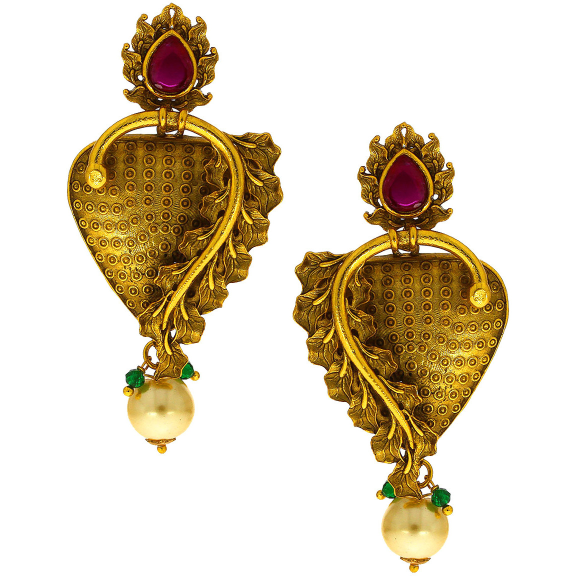 Anuradha Art Golden Finish Pink Colour Simple Stylish Ethnic Designer Traditional Earrings For Women/Girls