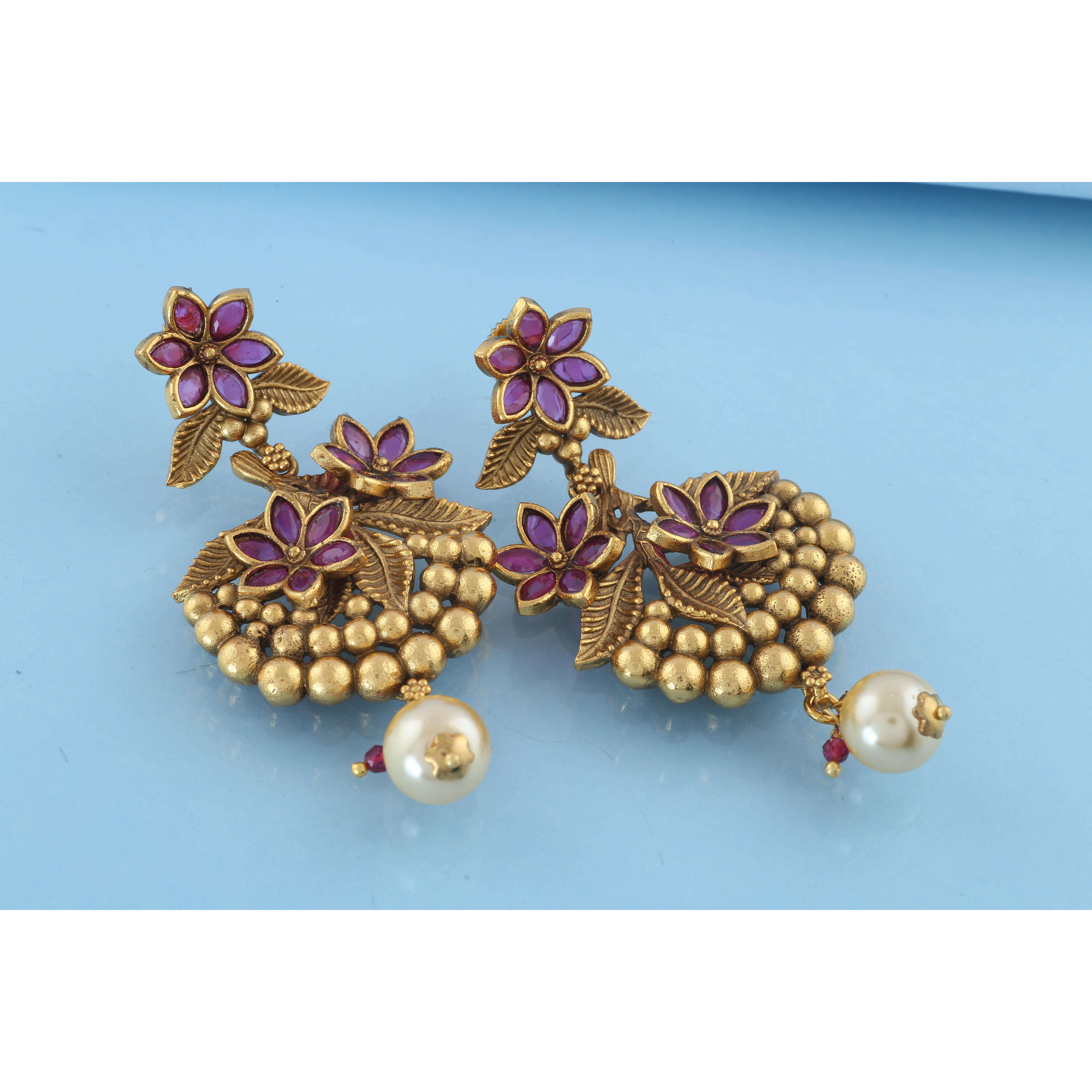 Anuradha Art Golden Finish Flower Styled Designer Classy Trendy Traditional Earrings For Women/Girls