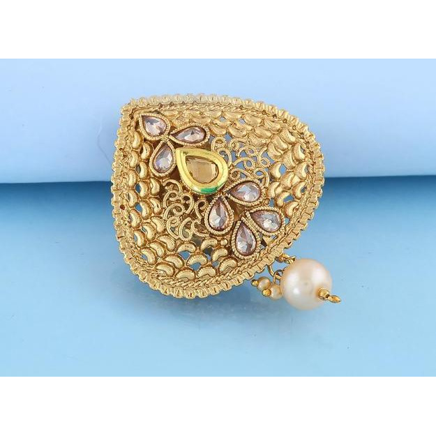 Anuradha Art Peach Colour Unique Design Stylish Brooch/Sari Pin For Women